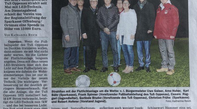 Regionalstiftung der Sparkasse Offenburg/Ortenau  unterstützt  TuS Oppenau
